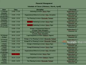 白俄罗斯英语授课硕士专业-金融(财务)管理下半学期课表